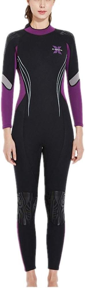 ウェットスーツ レディース 女性用3 Mmプレミアムネオプレンフルウェットスーツ、バックジッパースイムサーフィンスーツ ダイビングスーツ ネオプレンスーツ (Color : 紫の, Size : L) 紫の Large