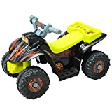 HOMCOM Kids 6V Electric Car Children Ride-on Toy Off Road Style Quad Bike Rechargeable Battery Powered with LED Light and Music - Black & Yellow