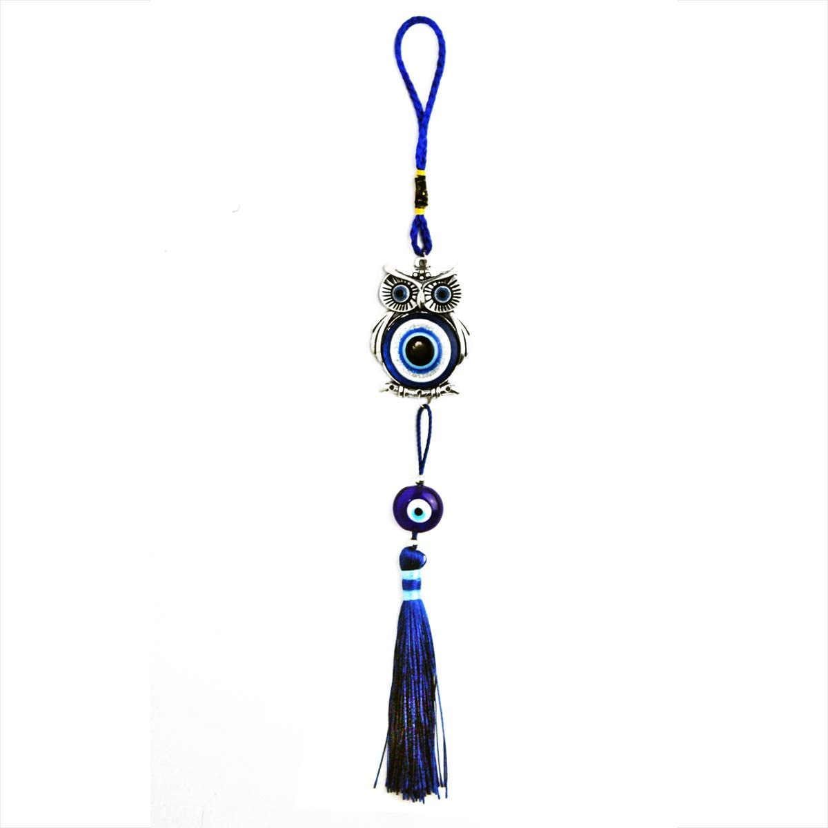 """LUCKY EYE MAGIC - Lucky Blue Evil Eye Hanging Owl for Protection and Blessing, Pendant Decoration for Car, Home and Office, Great Gift, Silver, 1.5"""" x 12"""""""
