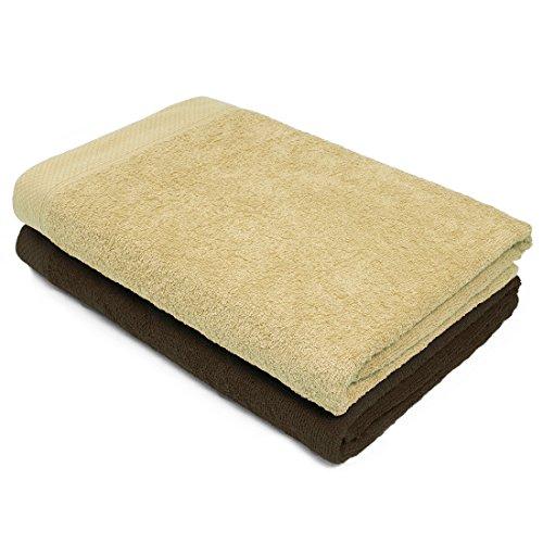 Swiss Republic Essential 440 GSM 2 Piece 100% Cotton Bath Towel Set (Light Brown/Brown)