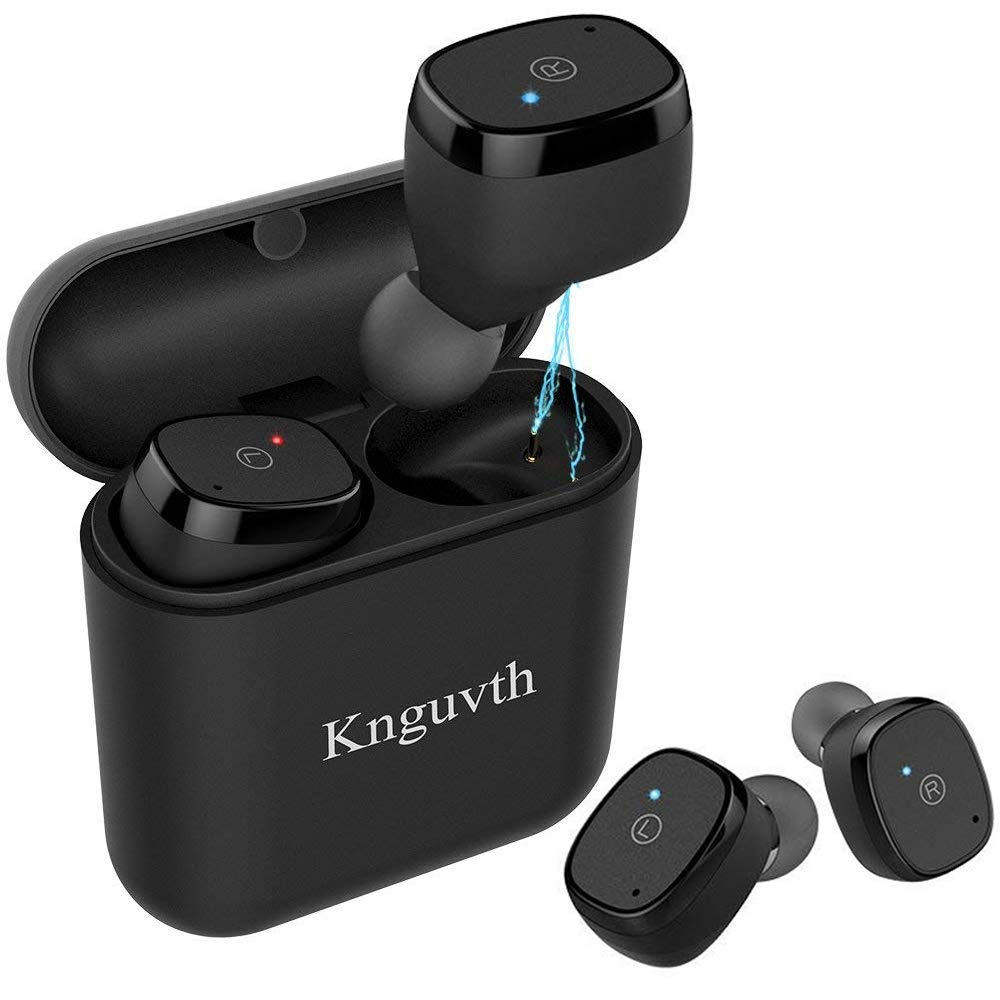 Wireless Earbuds Bluetooth Headphones, KNGUVTH Bluetooth Earbuds V5.0True Wireless Stereo Headset Sweatproof Sport Earphones Hands Free Call In Ear with Charging Box/Case for iPhone Samsung Android