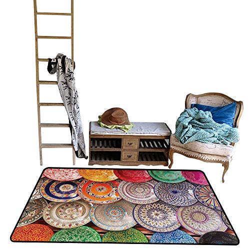 (Moroccan, Anti-Skid Rugs, Traditional Arabic Handcrafted Colorful Plates Shot at The Market in Marrakesh, Floor Mat for Kids, W48 x L60 Inch, Multicolor)