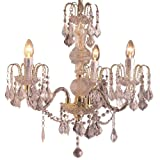 Loxton Lighting 57 cm 3 Light Glass Column Classic Austrian Reproduction Chandelier with Gold Crystal Effect, Multi-Col