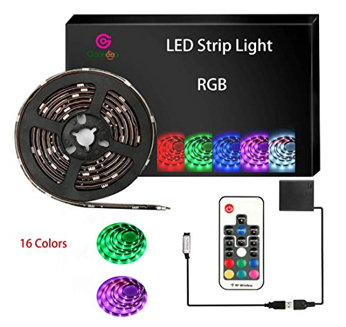 Battery Powered LED Strip Lights,5050 RGB RF Waterproof LED Tape Light Battery USB Operated - Powered Boats