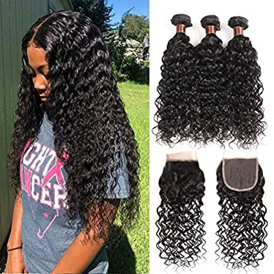 Brazilian Water Wave Bundles with Closure 100% Virgin Human hair Bundles With Closure Unprocessed Hair Extensions Natural Color