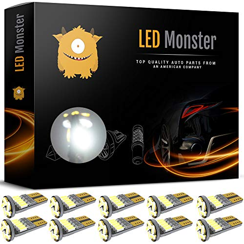 - LED Monster 10pcs T10 Wedge Best Value Super Bright High Power 3014 15-SMD 194 168 2825 W5W White LED Bulb Lamp for Car Truck Interior Dome Map Door Courtesy License Plate Lights