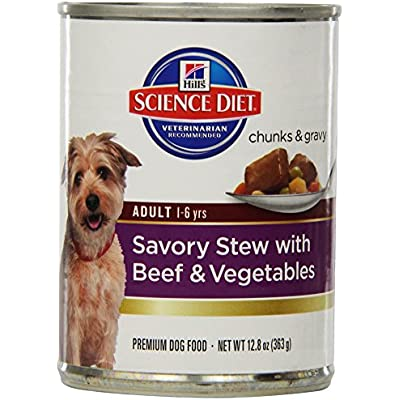 Hill'S Science Diet Adult Dog Food Can, Savory Stew Beef And Vegetables, 12.8 Ounce