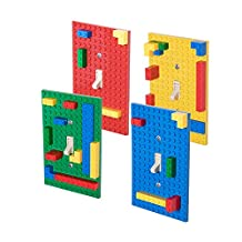 Classic Light Switch Baseplate Covers by Strictly Briks | Building Bricks Base Plates | 100% Compatible with All Major Brands | Unique Cover for Bedrooms & Play Rooms | 4 Pack Blue, Green, Red, Yellow