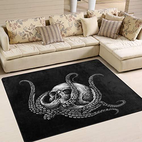 ALAZA Blue Sugar Skull Octopus Area Rug Rug
