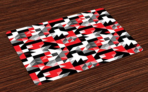 Tablecloth Triangles Pool (Ambesonne Red and Black Place Mats Set of 4, Abstract Geometric Half Triangles Squares Maze Inspired Image, Washable Fabric Placemats for Dining Room Kitchen Table Decor, Charcoal Grey and White)