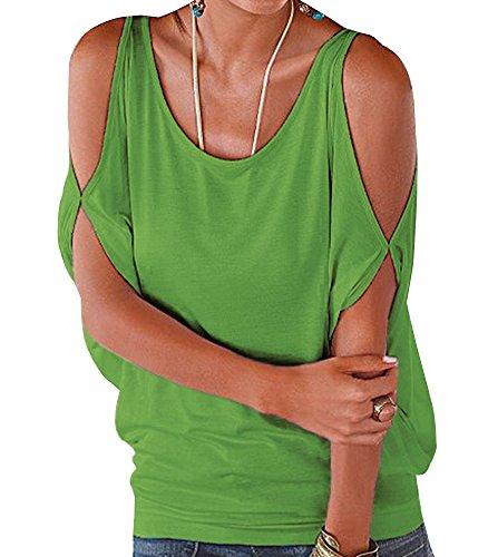 Vert Femme Blouses paule Courte Tops Lache T Shirts Chemisiers Manche Shirts Nue Hauts gx7HqrwgU