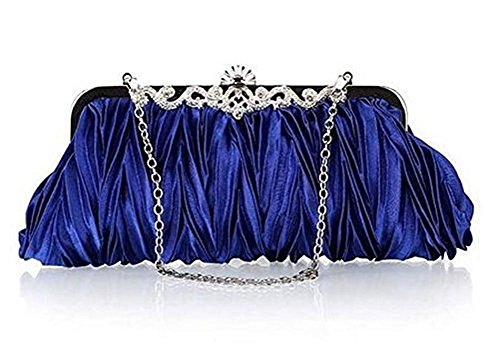 Qingsun Womens Vintage Satin Cocktail Party Handbag Wedding Bag Shoulder Chain (Blue)