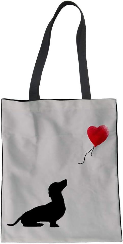 Nopersonality - Divertida bolsa de la compra de algodón para mujeres y niñas, tela, 0 perro salchicha, Large