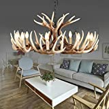 EFFORTINC Vintage Style Resin Deer Horn Antler Chandeliers,9 Lights(Bulbs Not Included)