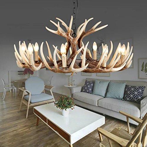 EFFORTINC Select Style Resin Deer Horn Antler Chandeliers,9 Lights(Bulbs Not Included)