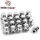 """YITAMOTOR 20 Chrome OEM Factory Mag Seat 12x1.25 Lug Nuts w/ Washer - 13/16"""" Hex - Mag Seat - 1.46"""" Tall Closed End Wheel Lug Nuts"""