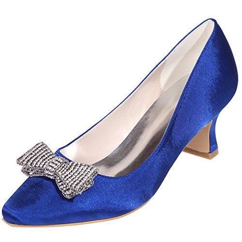Loslandifen Femmes Pionted Toe Satin Strass Bow Chaton Talons Chaussures De Mariage Bleu