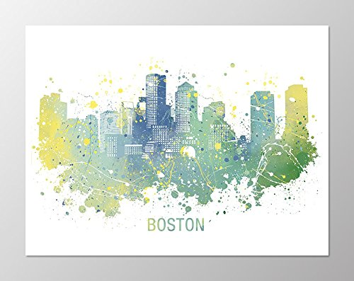 11x14 Boston Skyline Poster #A102. Boston Art. Boston Wall Art. Boston  Poster