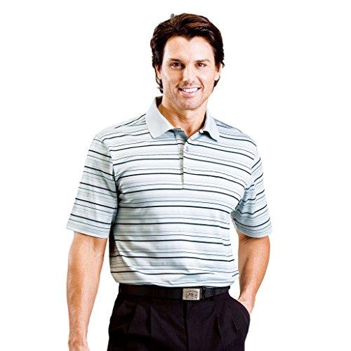 Monterey Club Mens Dry Swing Multi Color Thin Stripe Texture Polo Shirt #1628 (Slate Gray/Black, Large) ()