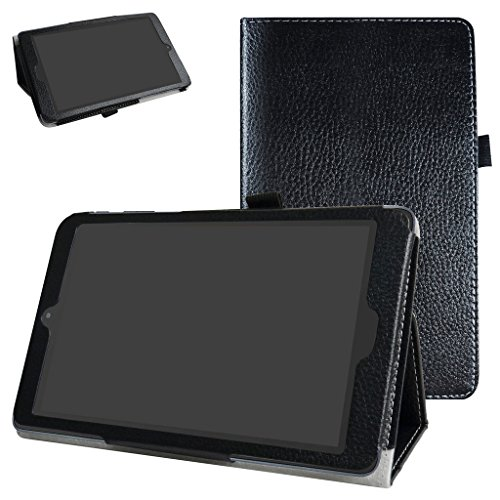 Alcatel A30 Tablet 8 Case,Mama Mouth PU Leather Folio 2-Folding Stand Cover for T-Mobile Alcatel A30 8-inch Tablet Model 9024W 2017 Released,Black