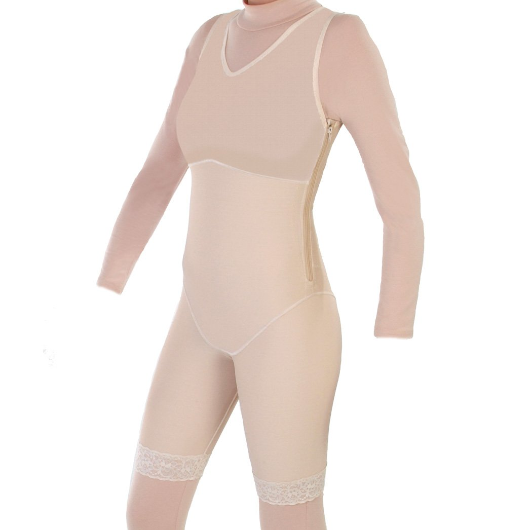 Contour Style 27Z - Mid Thigh Body Shaper with Side Zippers - XS Beige