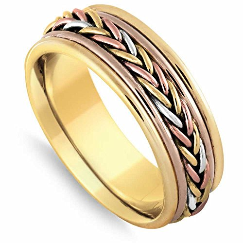 14K Tri Color Gold Braided French Braid Men's Comfort Fit Wedding Band (8mm) Size-16c1 ()