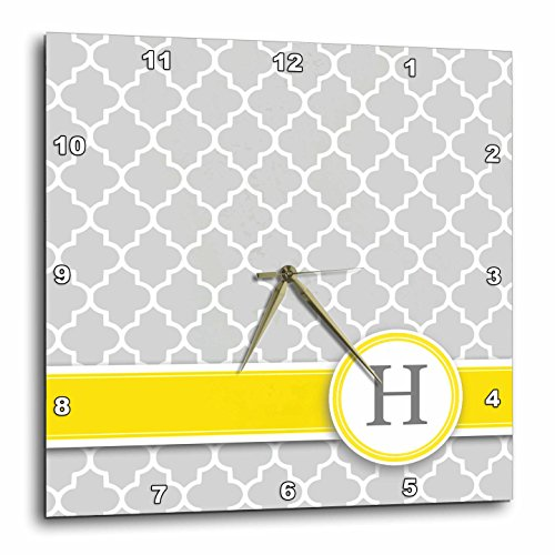 3dRose Your Personal Name Initial Letter H - Monogrammed Grey Quatrefoil Pattern (Gray Clock Plate)