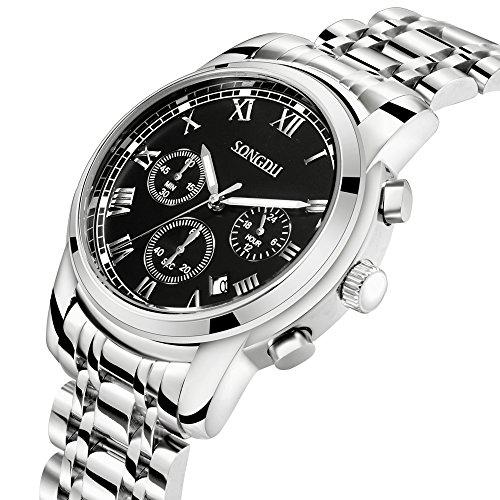 SONGDU Mens Quartz Unisex Wrist Watch Black Dial Silver Stainless Steel Bracelet ,Chronograph Analogue Calendar Date Display Luminous (Silver Dial Analogue Display)