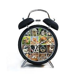 Twin Bell Analog Alarm Clock-Loud Alarm Clock(black)Custom pattern-075.Collage, Dogs, Animals, Dog Puppies