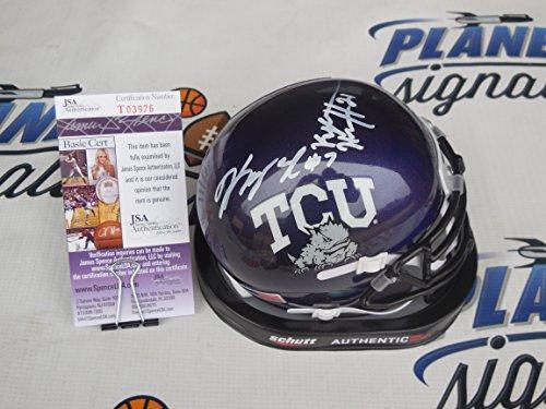 Kenny Hill and Kyle Hicks dual signed Texas Christian TCU Horned Frogs mini helmet JSA COA