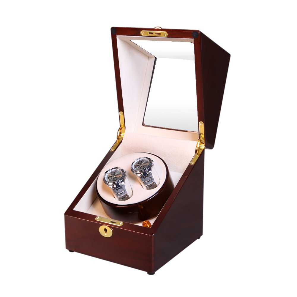 OLYMBROS Wooden Single rotor Automatic Double Watch Winder for 2 watches