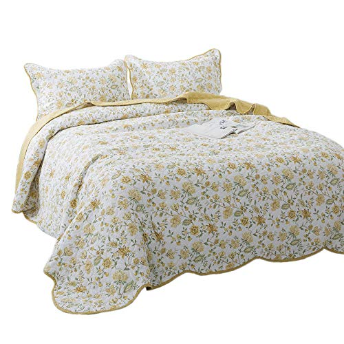 KASENTEX 3 Piece Quilt Set - Contemporary Oversized Bedding with Country-Chic Floral Printed Design, 100% Cotton Soft & Warm Reversible Bedspread (Yellow, King + 2 King Shams 112x106+20x36 x2)