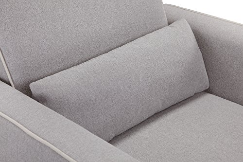 DaVinci Olive Upholstered Swivel Glider with Bonus Ottoman, Grey with Cream Piping