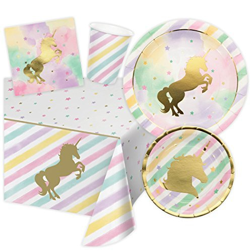 Unicorn Themed Birthday Party Supplies, Serves 16 Guests - 16 Dinner Plates, 16 Dessert Plates, 16 Napkins, 16 Cups and 1 Tablecloth - Magical Pink and Gold Foil Sparkle Tableware - Bundle of 65 Items