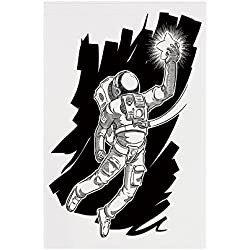 Polyester Garden Flag Outdoor Flag House Flag Banner,Astronaut,Sketch of Spaceman Grabbing a Star Achivement Discovery Zero Gravity Technology Decorative,Black White,for Wedding Anniversary Home Outdo