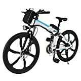 ferty Folding Electric Moped Sport Mountain Men Bicycle with Large Capacity Battery [US Stock] (White)