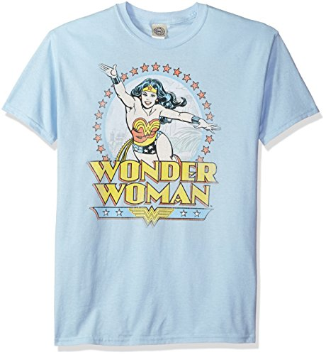 DC Comics Men's Wonder Woman Short Sleeve T-Shirt, Paradise Light Blue, Small