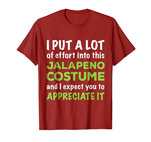 Lazy Halloween Costume T Shirt for Quick Easy Jalapeno -