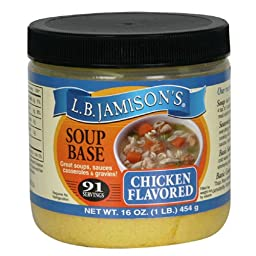 LB Jamison\'s Regular Soup Base, Chicken Flavored, 16-Ounce Jars (Pack of 6)