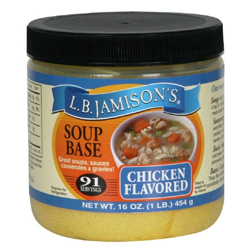 LB Jamison's Regular Soup Base, Chicken Flavored, 16-Ounce Jars (Pack of 6) by Jamison