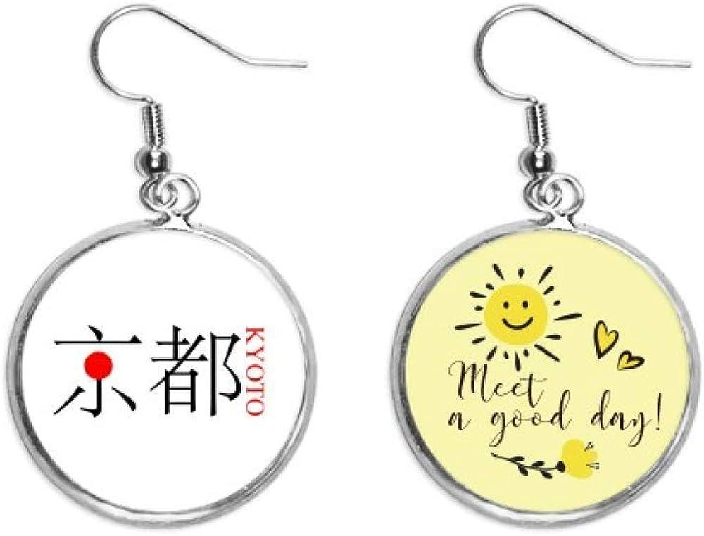 Kyoto - Pendientes con nombre de la ciudad japonesa, diseño de bandera de sol roja, para oreja, gota de sol, flor, joyería de moda