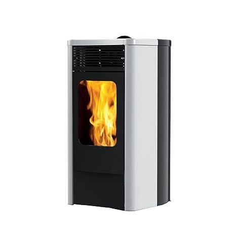 BLANCO estufa de pellets 12kW canalizada blanca Calefacción casa 755480
