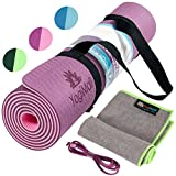 Cheap YogiMall 4-in-1 Non Slip Yoga Mat with Two Carry Straps and Hand Towel Kit – Eco Friendly, Reversible, Thick 6mm, SGS Certified High Density TPE Exercise Mat Set for Yoga, Pilates & Fitness Exercise
