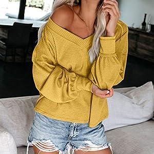 GOWOM Women's Fashion Off Shoulder Loose Solid Color Blouses Long Sleeve V-Neck Top