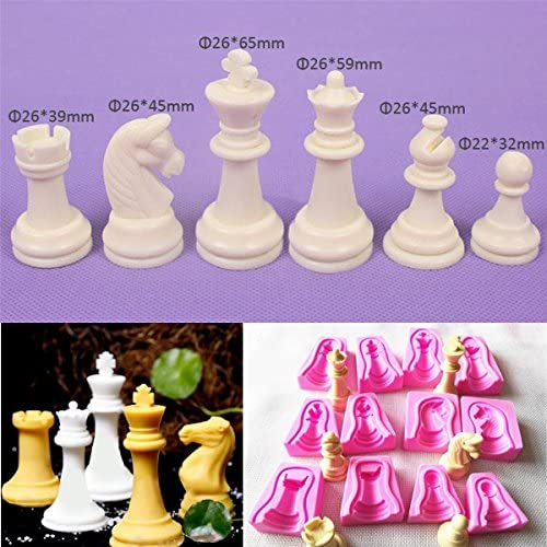 SEPTEMBER International Chess Silicone Soap Mold 12PCS a Set for Fimo Clay Soap Cake Mold