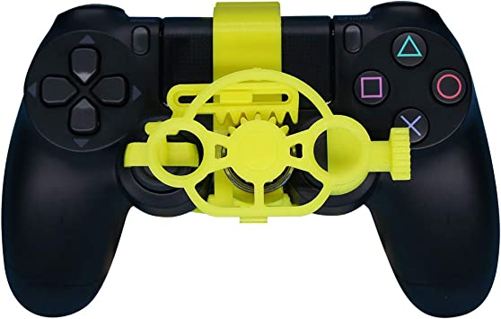 Amazon Com Ps4 Gaming Racing Wheel Enhanced 3d Printed Mini Steering Wheel Add On For The Playstation 4 Controller Yellow Computers Accessories