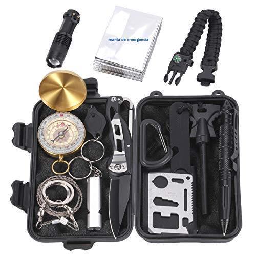 Homvik kits de supervivencia incluye 14 piezas herramientas de supervivencia SOS(1.navaja plegable;2.brújula;3.linterna con zoom;4.manta de emergencia;5.silbato;6.pulsera de paracord;7.raspador;8.pedernal;9.mosquetón;10.sierra de alambre de acero;11.tarjeta multiusos;12.bolígrafo táctico;13.luz de llavero;14.estuche) que es un equipo de emergencia de multifunción más completo