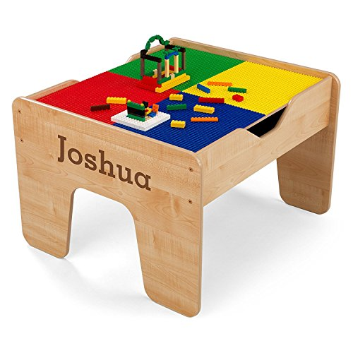 Best Selling Natural Wood Kids Toddler Lego Train Play Activity Table Center With Storage Holder Accessories- Composite Rubberwood Natural Finish Two-Sided Includes 200 Lego Blocks- 30 Piece Train Set by Kids Krafts