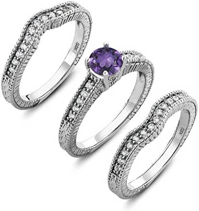 Sterling Silver Genuine Round Purple Amethyst Set of 3 Ring (1.29 cttw, Center Stone: 6 mm, Available in size 5, 6, 7, 8, 9)