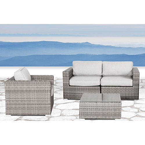 Verona Sectional (Living Source International Wicker Patio Furniture Sofa Garden, Backyard, Porch, Pool Sectional Furniture Set with Seat and Back Cushions (4 Pieces, Verona Grey))